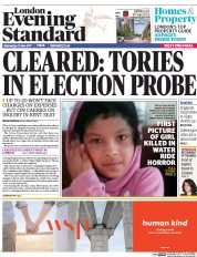 London Evening Standard (UK) Newspaper Front Page for 11 May 2017