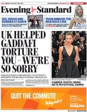 London Evening Standard (UK) Newspaper Front Page for 11 May 2018