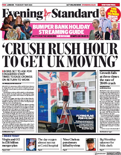 London Evening Standard Newspaper Front Page (UK) for 11 May 2020