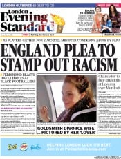 London Evening Standard Newspaper Front Page (UK) for 11 June 2012
