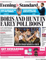 London Evening Standard (UK) Newspaper Front Page for 11 June 2019