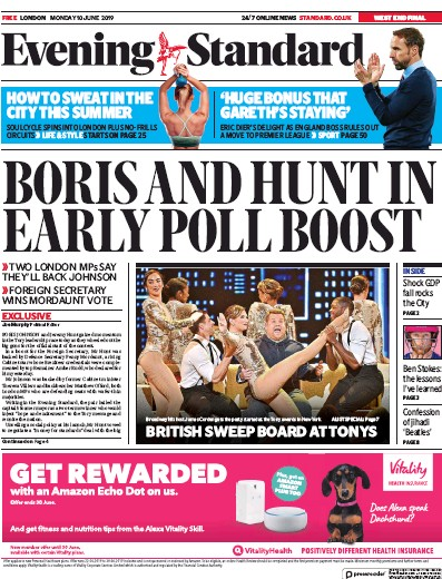 London Evening Standard Newspaper Front Page (UK) for 11 June 2019