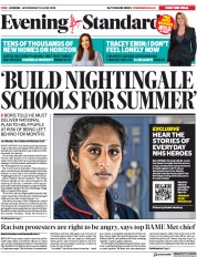 London Evening Standard (UK) Newspaper Front Page for 11 June 2020