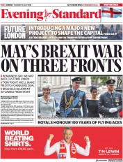 London Evening Standard (UK) Newspaper Front Page for 11 July 2018