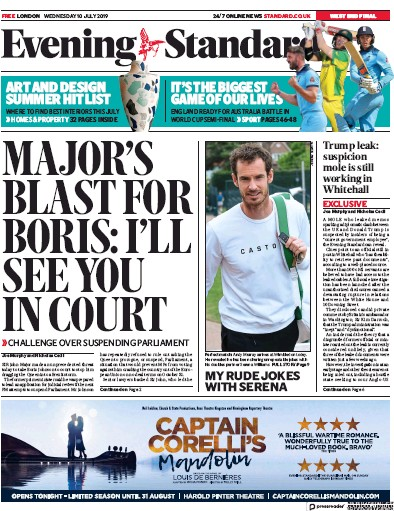 London Evening Standard Newspaper Front Page (UK) for 11 July 2019