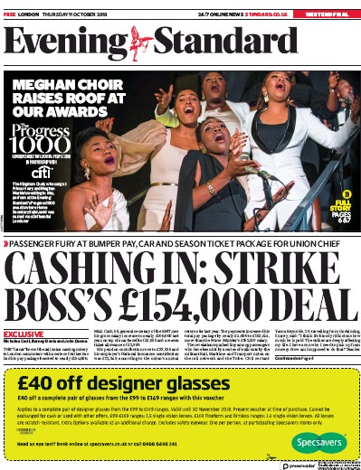 London Evening Standard Newspaper Front Page (UK) for 12 October 2018