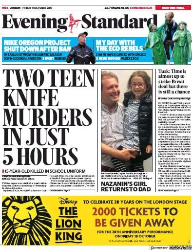 London Evening Standard Newspaper Front Page (UK) for 12 October 2019