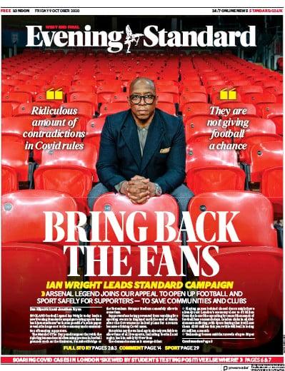 London Evening Standard Newspaper Front Page (UK) for 12 October 2020