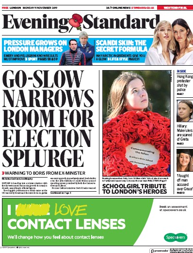 London Evening Standard Newspaper Front Page (UK) for 12 November 2019