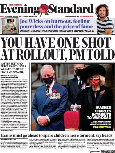 London Evening Standard Newspaper Front Page (UK) for 12 November 2020