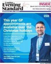 London Evening Standard (UK) Newspaper Front Page for 12 December 2017