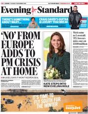 London Evening Standard (UK) Newspaper Front Page for 12 December 2018