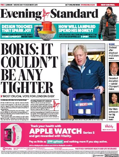 London Evening Standard Newspaper Front Page (UK) for 12 December 2019