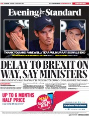 London Evening Standard (UK) Newspaper Front Page for 12 January 2019