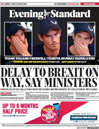 London Evening Standard Newspaper Front Page (UK) for 12 January 2019