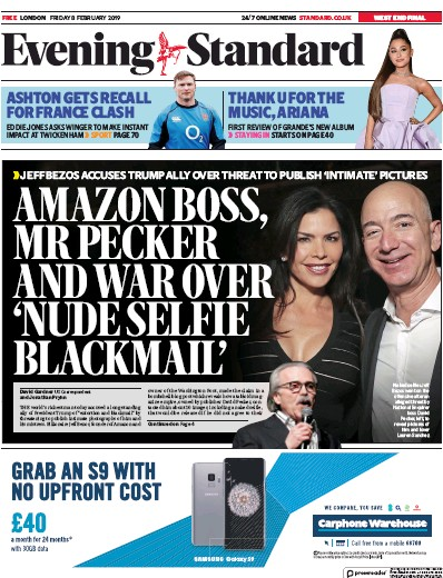 London Evening Standard Newspaper Front Page (UK) for 12 February 2019