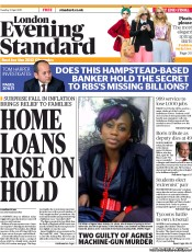 London Evening Standard (UK) Newspaper Front Page for 12 April 2011