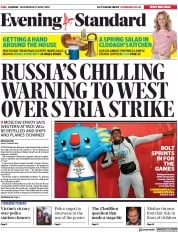 London Evening Standard (UK) Newspaper Front Page for 12 April 2018