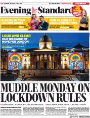 London Evening Standard front page for 12 May 2020