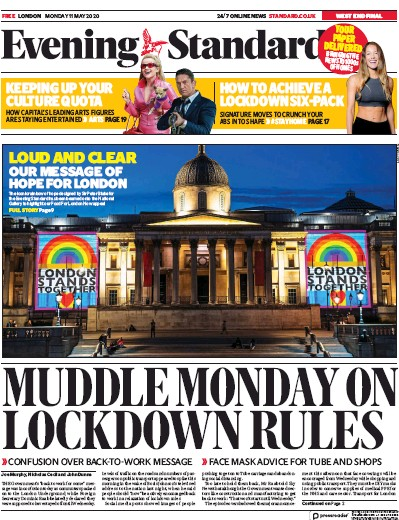 London Evening Standard Newspaper Front Page (UK) for 12 May 2020