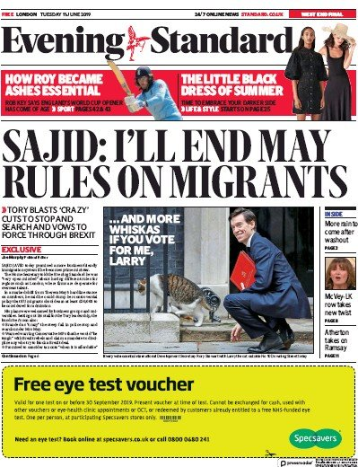 London Evening Standard Newspaper Front Page (UK) for 12 June 2019