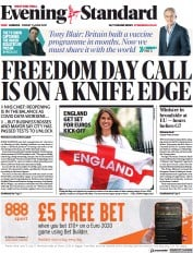 London Evening Standard () Newspaper Front Page for 12 June 2021