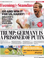 London Evening Standard (UK) Newspaper Front Page for 12 July 2018