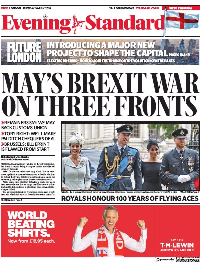 London Evening Standard Newspaper Front Page (UK) for 12 July 2018