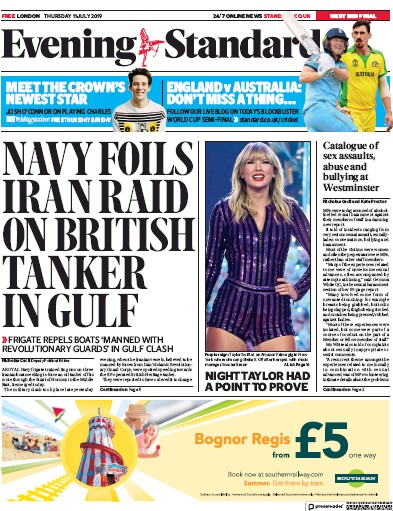 London Evening Standard Newspaper Front Page (UK) for 12 July 2019