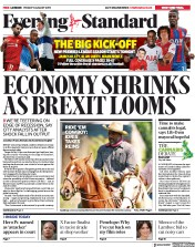 London Evening Standard (UK) Newspaper Front Page for 12 August 2019