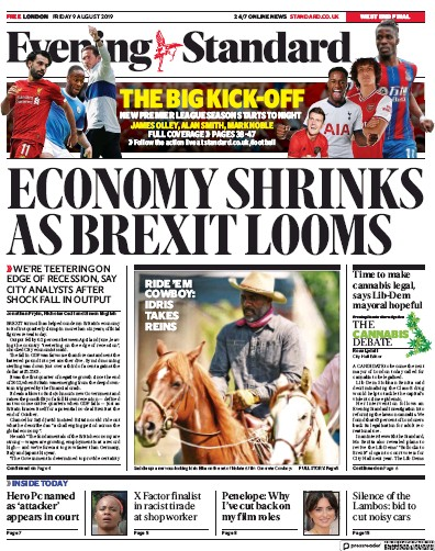 London Evening Standard Newspaper Front Page (UK) for 12 August 2019