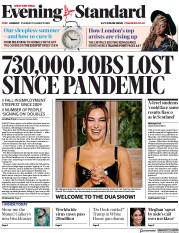 London Evening Standard front page for 12 August 2020