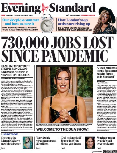 London Evening Standard Newspaper Front Page (UK) for 12 August 2020