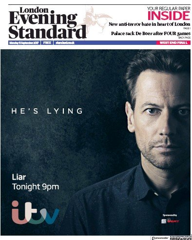 London Evening Standard Newspaper Front Page (UK) for 12 September 2017