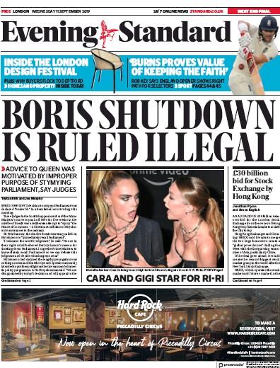 London Evening Standard Newspaper Front Page (UK) for 12 September 2019