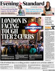 London Evening Standard front page for 13 October 2020