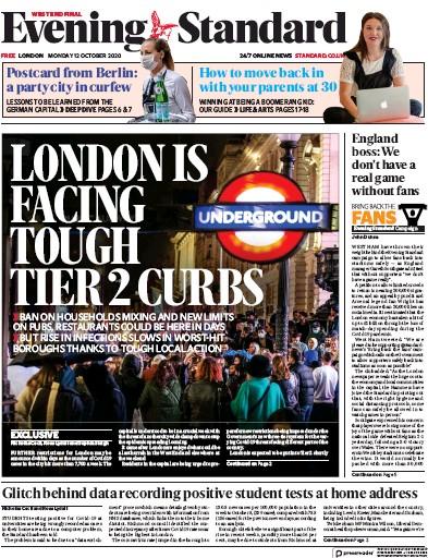 London Evening Standard Newspaper Front Page (UK) for 13 October 2020