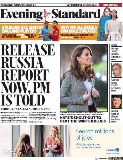 London Evening Standard Newspaper Front Page (UK) for 13 November 2019