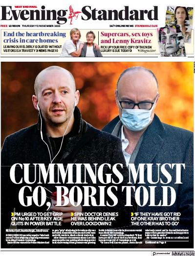London Evening Standard Newspaper Front Page (UK) for 13 November 2020