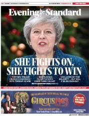 London Evening Standard (UK) Newspaper Front Page for 13 December 2018