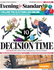 London Evening Standard () Newspaper Front Page for 13 December 2019
