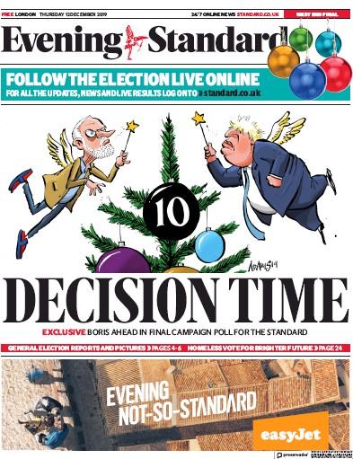 London Evening Standard Newspaper Front Page (UK) for 13 December 2019