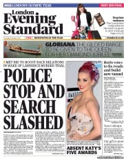 London Evening Standard () Newspaper Front Page for 13 January 2012