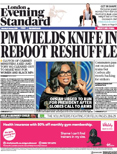 London Evening Standard Newspaper Front Page (UK) for 13 January 2018