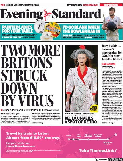 London Evening Standard Newspaper Front Page (UK) for 13 February 2020
