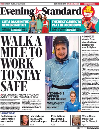 London Evening Standard Newspaper Front Page (UK) for 13 May 2020