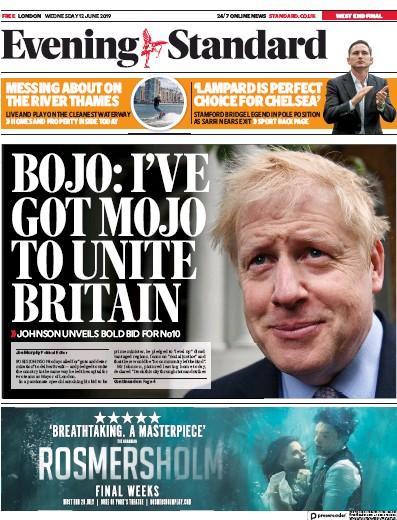 London Evening Standard Newspaper Front Page (UK) for 13 June 2019