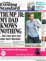 London Evening Standard (UK) Newspaper Front Page for 13 July 2017