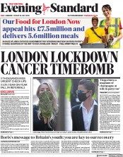 London Evening Standard front page for 13 July 2020