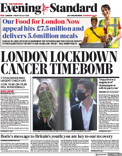 London Evening Standard Newspaper Front Page (UK) for 13 July 2020